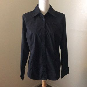Black New York &Company Fitted Button-Up Shirt